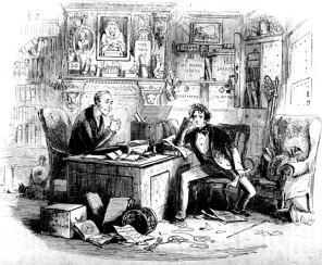 """Attorney and Client: Fortitude and Impatience by """"Phiz"""" (Hablot Knight Browne) for Bleak House, 1853. (Image scan and text by George P. Landow. )"""