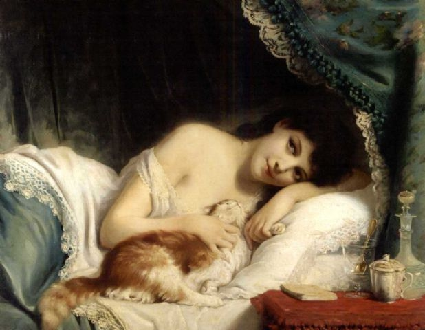 A Reclining Beauty with her Cat by Fritz Zuber-Bühler, (1822-1896).