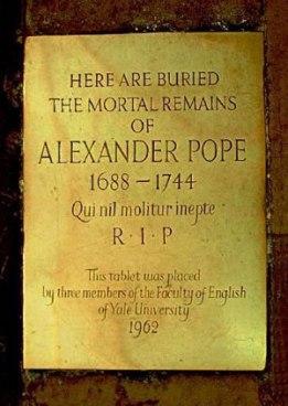 Alexander Pope,Brass Memorial Plate, St. Mary's, Twickenham.