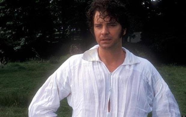 Colin Firth as Mr. Darcy in the BBC adaptation of Pride and Prejudice, 1995. Photograph: BBC.