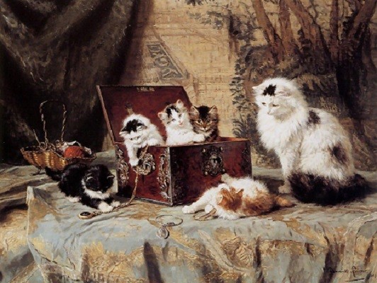 Fond of Jewelry by Henriette Ronner-Knip, (1821-1909).