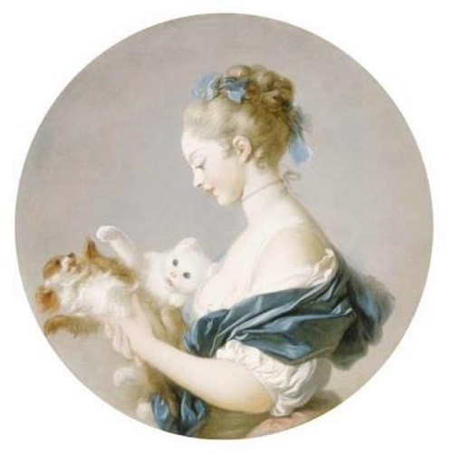 Girl Playing with a Dog and a Cat by Jean Auguste Fragonard, (1732-1805).