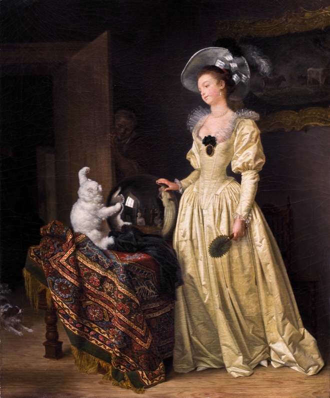 Le Chat Angora by Jean-Auguste Fragonard, (1732-1805).