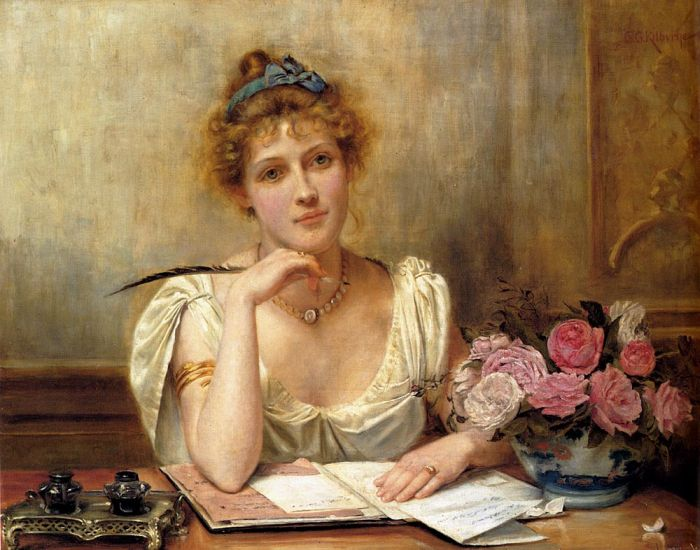 Penning a Letter by George Goodwin Kilburne