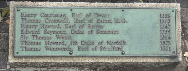 Plaque at Scaffold Site on Tower Hill