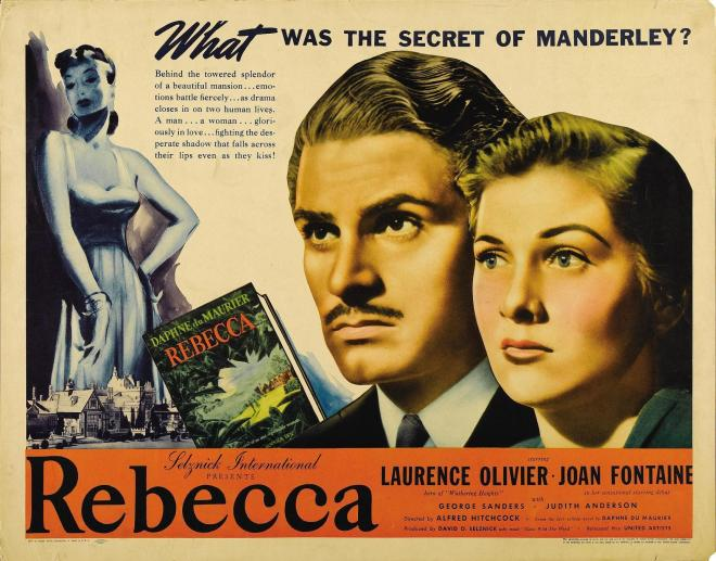 Laurence Olivier and Joan Fontaine in the Alfred Hitchcock adaptation of Daphne DuMaurier's Rebecca, 1940.