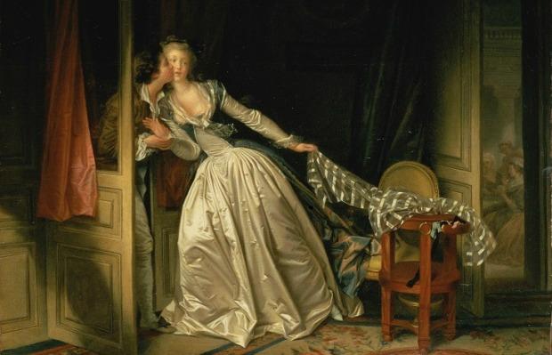 The Stolen Kiss by Jean-Honoré Fragonard , late-1780s.