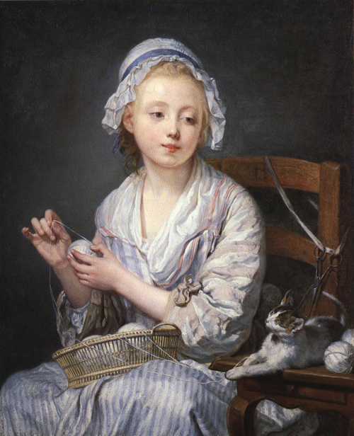 The Wool Winder by Jean-Baptiste Greuze, (1725-1805).