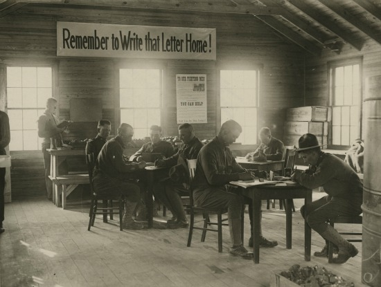 World War I soldiers writing letters  Smithsonian National Postal Museum