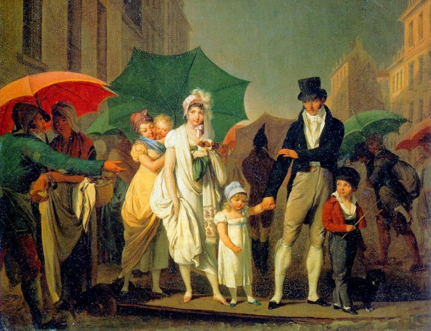 A Well to Do Family in the Streets of Paris by Louis Leopold Boilly, 1803.