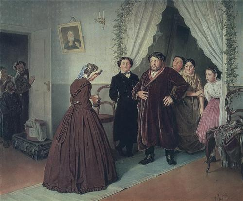 Arrival of a New Governess in a Merchant's House by Vasily Perov, 1866.