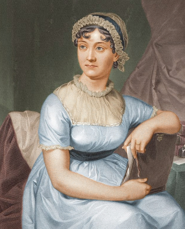 Jane Austen wearing Cap.(Colorized version of a posthumous engraving published in the 1869-70 Memoir.