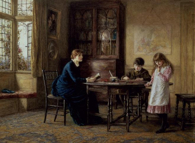 Lessons by Helen Allingham, (1848-1926).