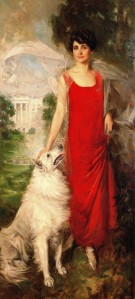 Official Portrait of First Lady Grace Coolidge with her white Collie by Howard Chandler Christy, 1924.