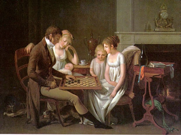 Painting of a family game of checkers by Louis-Léopold Boilly, 1803.