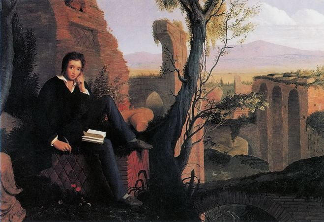 Posthumous Portrait of Percy Shelley by Joseph Severn, 1845.
