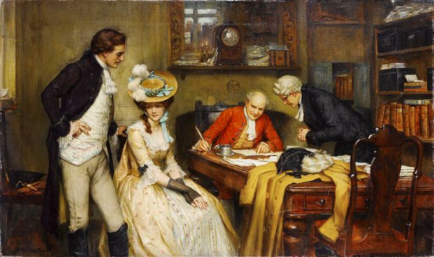 Signing the Marriage Contract by George Sheridan Knowles.