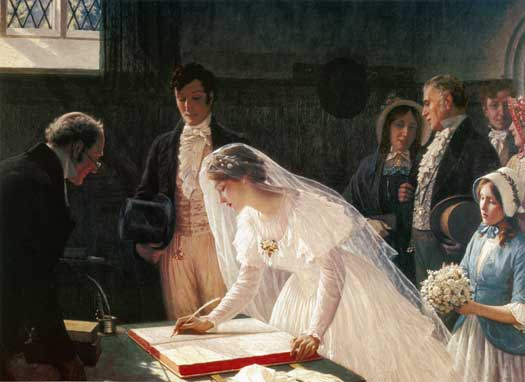 Signing the Register by Edmund Leighton Blair.