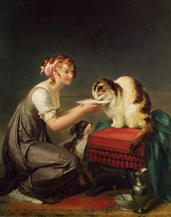 The Cats Lunch by Marguerite Gerard , (1761-1837).