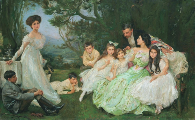 The Golden Butterfly - The Harvey Family by John Henry Frederick Bacon, (1868-1914).
