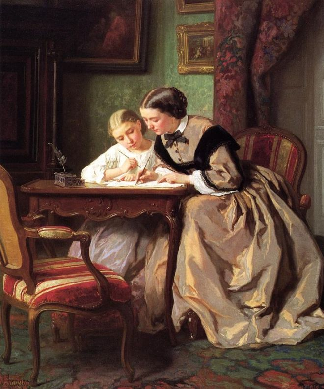The Lesson by Jules Trayer, 1861.