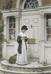 The New Governess by Edmund Blair Leighton, (1853-1922).