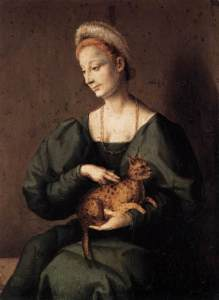 Woman with a Cat by Bacchiacca, 1540s.