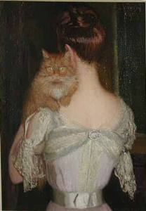 Woman with Cat by Lilla Cabot Perry, (1848-1933).