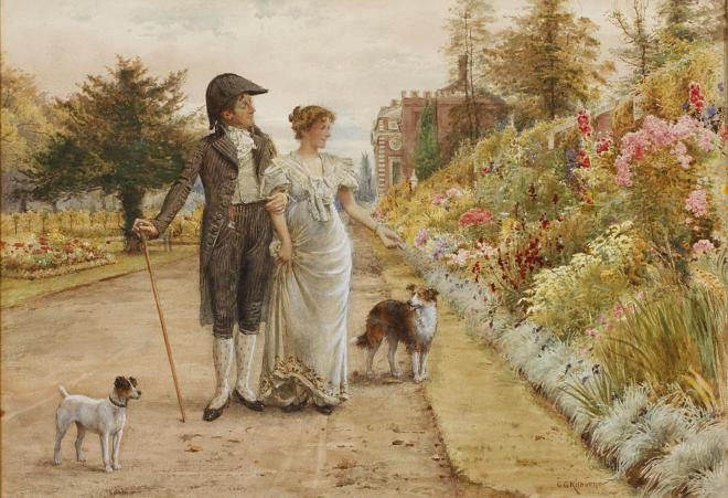 A Garden Stroll by George Goodwin Kilburne, 1924.