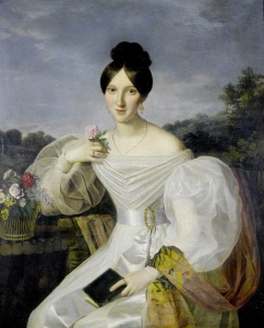 A lady in a white dress and shawl before a Viennese landscape by Ferdinand Georg Waldmüller, mid-19th century.