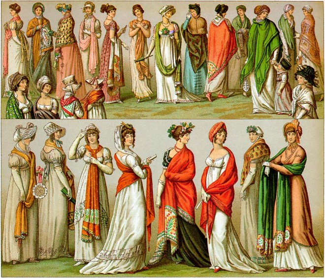 A Variety of ways of Wearing Shawls in early 19th century France, Lithograph, 1802-1814.