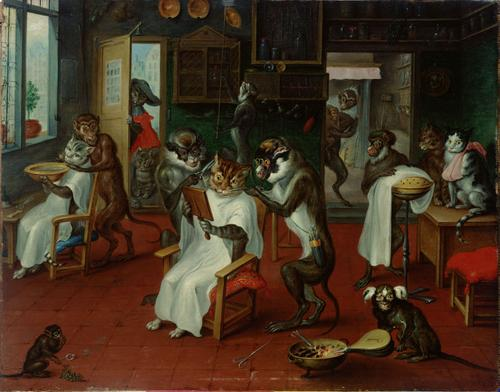 Barbershop with Monkeys and Cats by Abraham Teniers, 1633-1667.