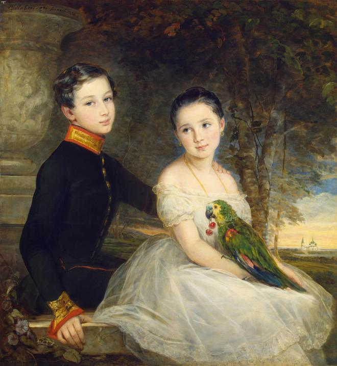 Children with Parrot by Christina Robertson, (1850).