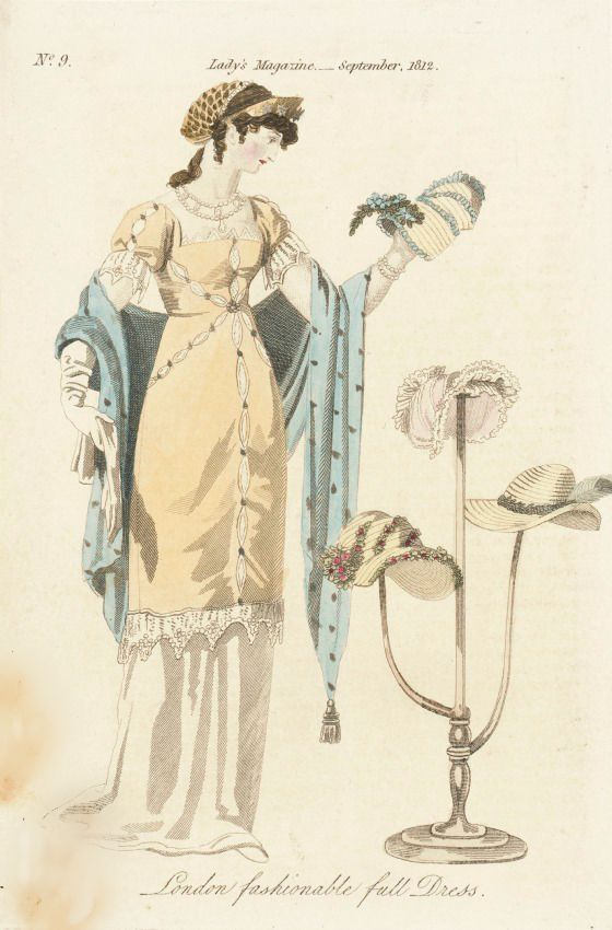 London Fashionable Full Dress, The Lady's Magazine, September 1812.