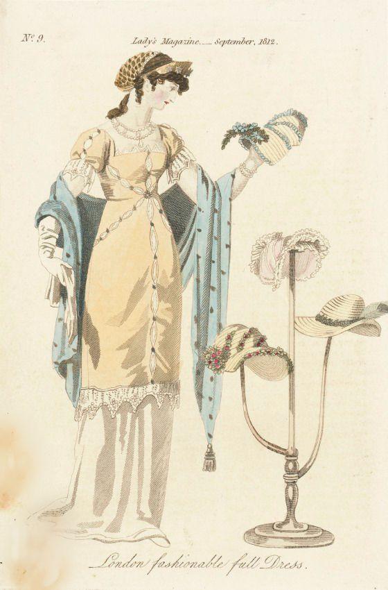 London Fashionable Full Dress, The Lady's Magazine, September 1812.