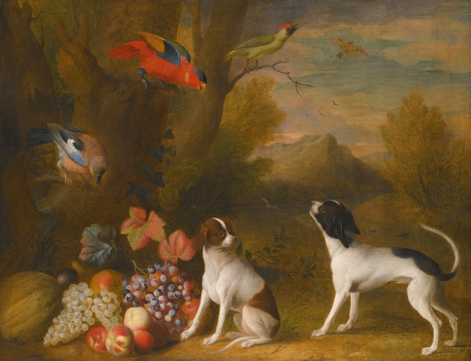 Landscape with Exotic Birds and Two Dogs by Jakob Bogdány, (1724).