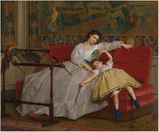 Mother with her Young Daughter by Gustave Léonard de Jonghe.