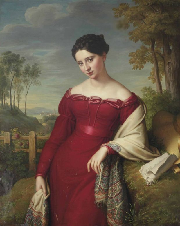 Portrait of a Young Lady in a Red Dress with a Paisley Shawl by Eduard Friedrich Leybold, 1824.