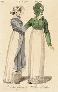 London Fashionable Walking Dresses, The Lady's Magazine, 1812.