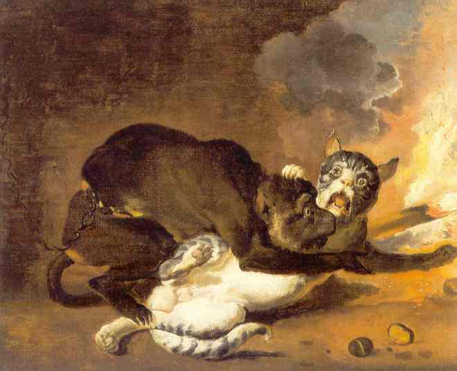 The Monkey and the Cat by Abraham Hondius, 1670.