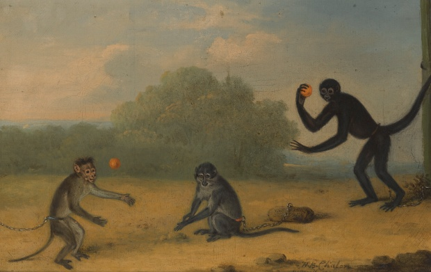 Three Monkeys at Play by Henry Bernard Chalon, 1820.