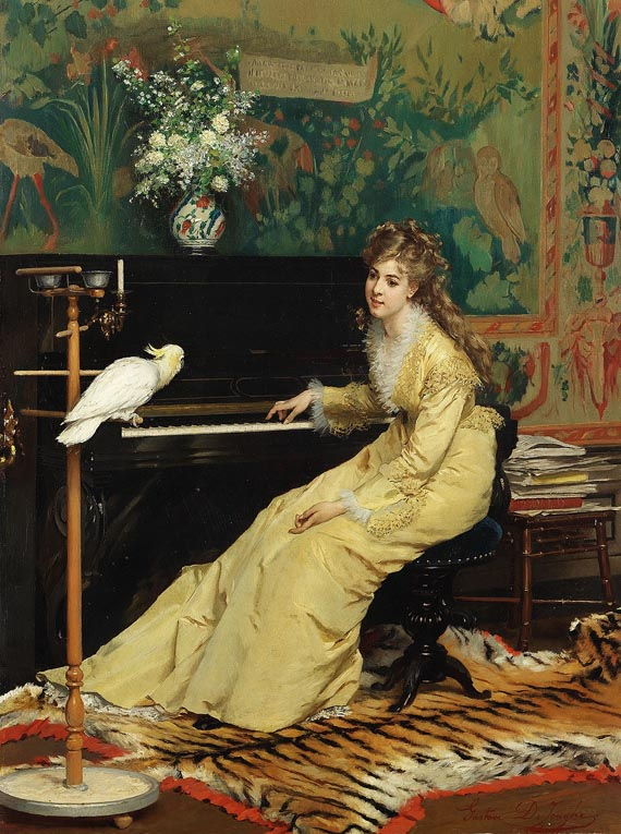 Woman at the Piano with Cockatoo by Gustave Léonard de Jonghe, (1870).