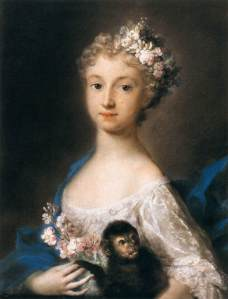 Young Girl Holding a Monkey by Rosalba Carriera, 1721.