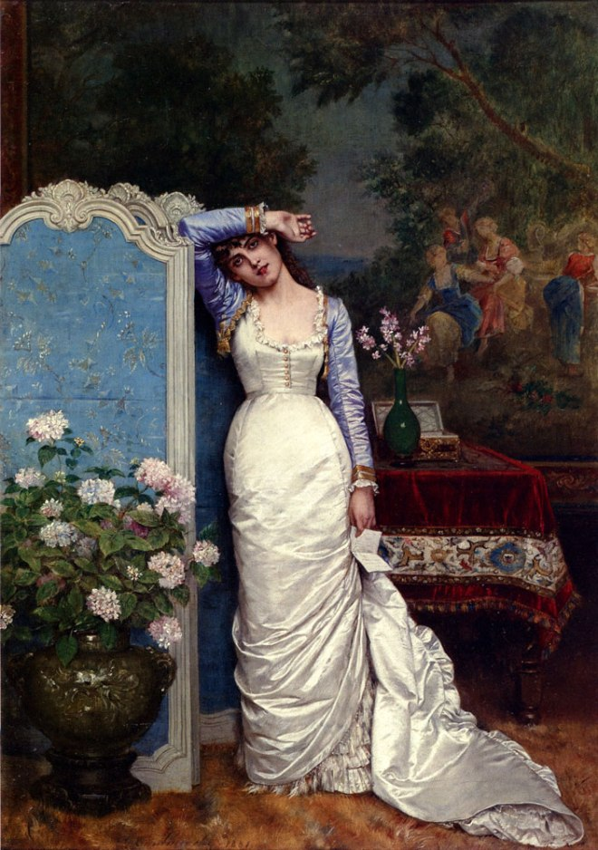 Young Woman in An Interior by Auguste Toulmouche, 1870.