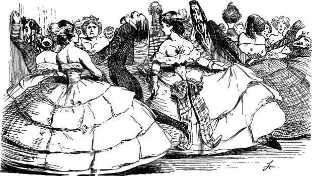 Caricature of Men being Squeezed by expansive Crinolines.
