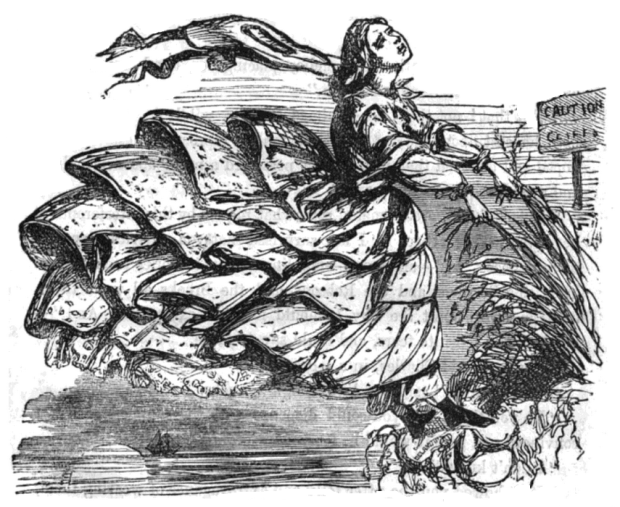 Woman Blown off a Cliff, The Dangers of Crinoline, 1858.