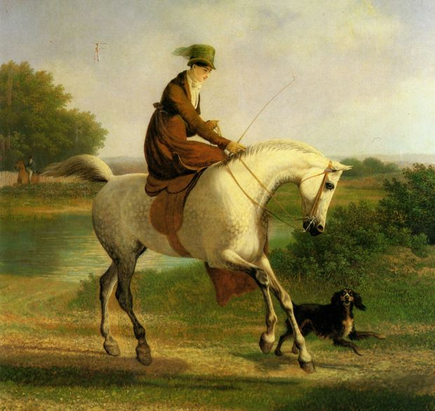 Emma Powles on her Grey Hunter accompanied by her Spaniel in a River Landscape by Jaques-Laurent Agasse , 1767-1849.