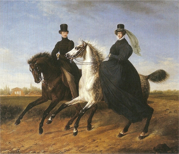 General Krieg of Hochfelden and his wife on horseback by Marie Ellenrieder, 1832.
