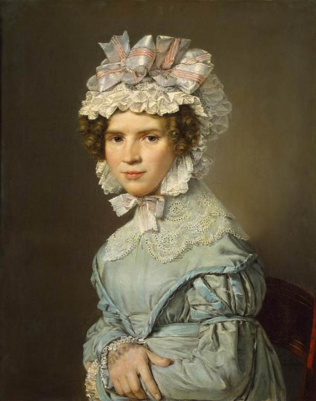Portrait of a Lady in a Blue Dress by Christian Albrect Jensen, 1824.
