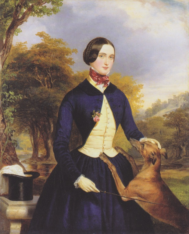 Portrait of a Woman as an Amazon, with their Greyhound by Ferdinand Georg Waldmüller, 1839.